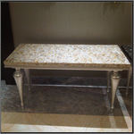 semi precious Furniture - Champagne pearl side table with silver leafing