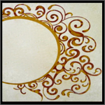 Floral motifs on veneer using mother of pearl